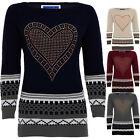 Women's Studded Diamante Heart Round Neck Warm Knitted Long Sleeve Jumper