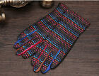 lady's winter warm fashion colorful leather braided knit goat  leather gloves