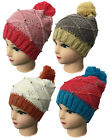 New Ladies Womens Woolly Knitted Beanie Pompom Gold Stud Hat Accessory 4 Colours