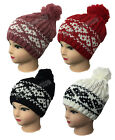 New Ladies Womens Woolly Knitted Beanie Love Heart Pompom Hat Accessory 4Colours