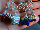 Sparkle STAR clay pave CRYSTAL Shamballa snake chain clip on charm NECKLACE