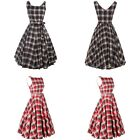 Vintage Womens Plaid Check Audrey Hepburn 50s Rockabilly Swing Prom Party Dress