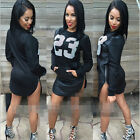 Womens Lady Casual Long Sleeve PU Leather Bodycon Cocktail Party Short Dress Top
