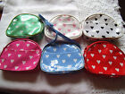 Girls Heart Print Purse/Bag Zip Top Long Strap Pick your colour Great Gift