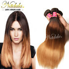 Brazilian Ombre Three Tone Straight Hair weave bundle 100% Human Hair Extensions