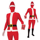 Adults Christmas Disappearing Man Santa Skin Jumpsuit Fancy Dress Costume Outfit
