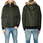 Brave Soul Mens Padded Coat Faux Fur Trim Hooded Parka Or Bomber Zip Up Jacket