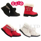 Girls Infant Toddler  Boots Winter Fur Snow Trim Zip Diamante Boots 3-4