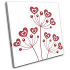 Love Floral Simple Abstract SINGLE CANVAS WALL ART Picture Print VA