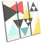Geometric Triangles Abstract TREBLE CANVAS WALL ART Picture Print VA