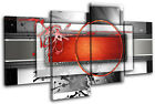Modern Red  Abstract MULTI CANVAS WALL ART Picture Print VA