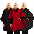 Womens Cape Boutique Ladies One Size New Faux Fur Trim Shawl Wrap Poncho Coat