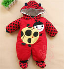 Newborn Baby Girls Boys Hoodie Jumpsuit Romper Winter Outwear Clothes Outfits