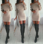 Sexy Womens Winter Off Shoulder Long Sleeve Bodycon Shirt Slim Party Mini Dress