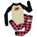 LazyOne Girls Bear Plaid Kids PJ Set Long Sleeve