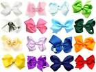 "3.5"" Medium Size Grosgrain Ribbon Flower Girls HAIR BOW Pin Aligator Clip"