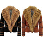 Womens Short Wool Inner Lined PVC Stripe Faux Fur Collar Biker Coat Jacket