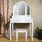 Brand New 3 Mirror 4 Drawers Luxury Mirror Wooden Dressing Table & Stool