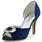 A2136 Peep Toe Pumps High Heels Buckle Ruched Satin Bridal Party Shoes AU 4-11