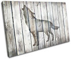 Wolf Vintage Wood Animals SINGLE CANVAS WALL ART Picture Print
