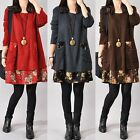 Ladies Floral Mini Dress Oversized Jumper Knitwear Sweater Long Tops Size 8-24