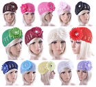 Flower hat Women School Girls Kufi Crocheted hat with Diamond Centre Gift