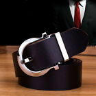 Fashion Men's Leather Belt Square Silver Buckle Waistband Black Waist Strap Belt