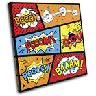 Comic Book Typography Vintage SINGLE CANVAS WALL ART Picture Print