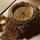 pave HIP HOP ICED OUT RAPPER GOLD FINISHED SIMULATED DIAMOND WATCH RING SET01G