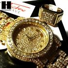 pave HIP HOP ICED RAPPER GOLD FINISHED SIMULATED DIAMOND WATCH RING SET01G