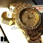 pave HIP HOP ICED RAPPER GOLD FINISHED SIMULATED DIAMOND WATCH RING SET01G image
