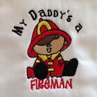 My Daddy is a Fireman embroidered burp cloth Personalized