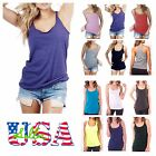 Made in USA Women Tank Top T-Shirt Loose Racerback Sleeveless Top Gym Beachwear