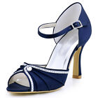 EL-033 High Heel Sandal Peep Toe Buckle Rhinestone Satin Prom Bridal Party Shoes