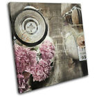 Shabby Chic Moped Vintage SINGLE CANVAS WALL ART Picture Print