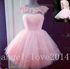 Pink Short Lace/Tulle Party Cocktail Dress Bridesmaid Homecoming Prom Dresses