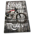 Shabby Chic Motorbike Vintage TREBLE CANVAS WALL ART Picture Print