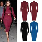 Womens Ladies Turtle Neck Cut Out Stretchy Long Sleeves Wrap Bodycon Midi Dress