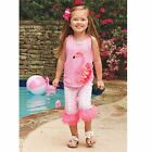 Mud Pie Flamingo Capri Set Girl Size 3M-5T #1112296 NWT