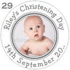Personalised High Gloss Christening Day / Baptism Circle Stickers 7 Sizes CDCS2