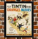 Framed Tintin And The Blue Oranges French Film Poster A4/ A3 Size In Black Frame