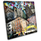 New York Graffiti Grunge Urban SINGLE CANVAS WALL ART Picture Print