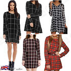 UK Womens Ladies Plaid Check Casual Loose Party Mini Shirt Dress Tops Size 6-18