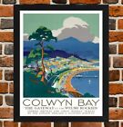 Framed Colwyn Bay Conwy Wales Travel Poster A4 / A3 Size In Black / White Frame