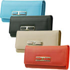 Ladies Faux Leather Designer Buckle Long Coin Purse Womens Wallet Card Holder