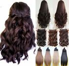 Long Straight Curly Wavy Clip In Hair Extensions 3/4 Full Head Real 1 Pcs Brown
