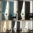 Santos Lined Eyelet Curtains Metallic Printed Striped Dashes Ready Made Pair
