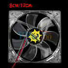 120mm/80mm 4 Blue LED Light Computer PC Clear Case Quad 12CM/8CM CPU Cooling Fan