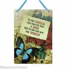 Mothers Day Gifts Plaque sign for her vintage chic present Blue Butterfly World