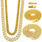 MENS ICED OUT MICRO ANGEL 3 CHAINS SET GOLD FINISH MIAMI CUBAN LINK NECKLACES